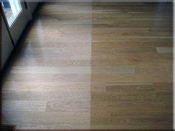 image of north facing hardwood floor fade mark