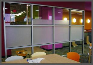 Decorative film on glass room divider
