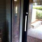 Image of a door and side window panels with custom reed graphic window film by ProTint Oregon